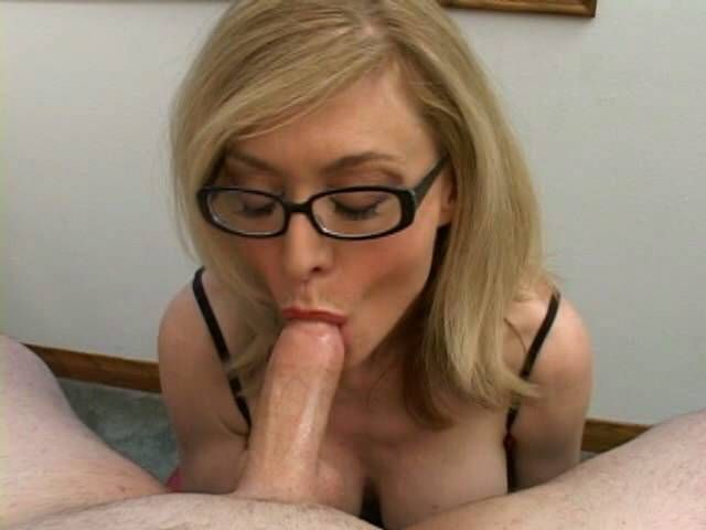 Stimulating blonde granny in glasses Nina Hartley sucking a gigantic shaft
