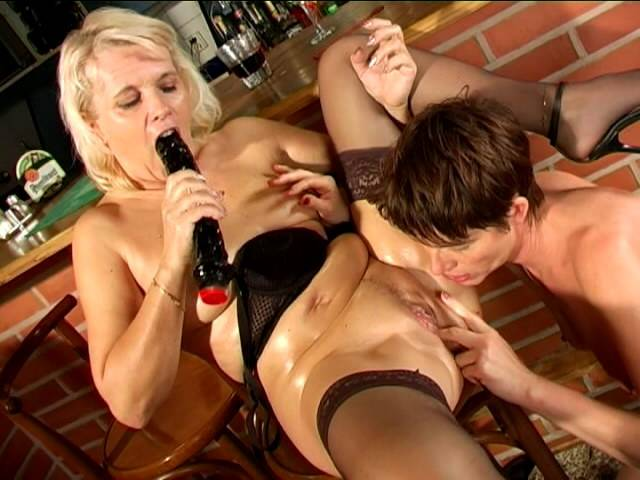 Malignant lesbian granny Marketa earns pussy licked and dildoed by of age Leona