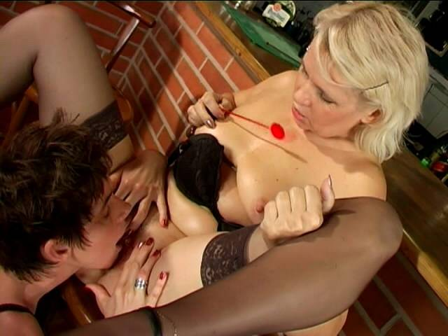 Crude lesbian grannies Marketa And Leona licking and fingering their fuckable gaps on superlative seat